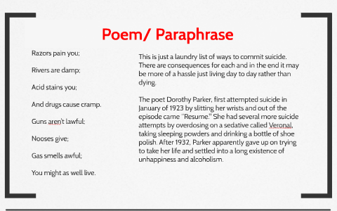 Resume By Dorothy Parker By Madelyn Robinson On Prezi Next
