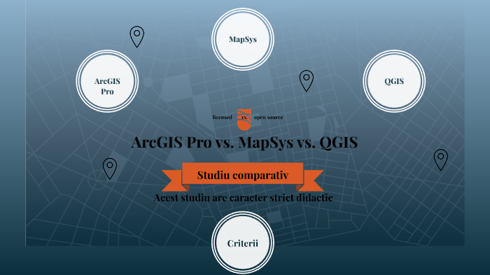 Tabel comparativ: ArcGIS Pro, MapSys, QGIS by Mihaela Bacescu on