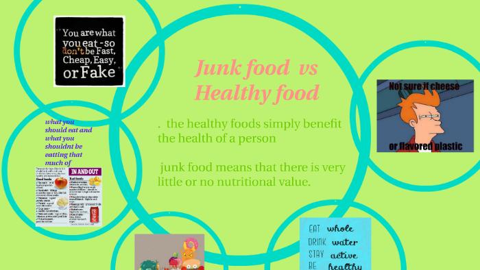 Junk Food Vs Healthy Food By Rudjena Jean