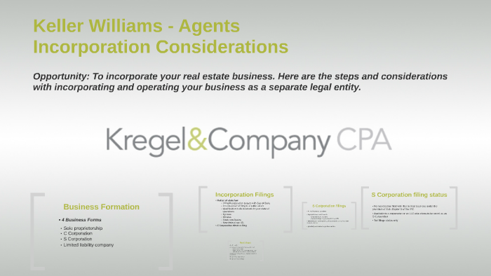 Keller Williams Mega Agents Llc Incorporation Considerations By