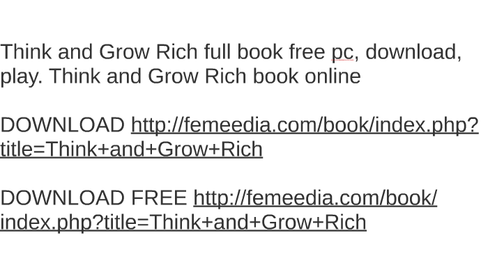 think and grow rich book free
