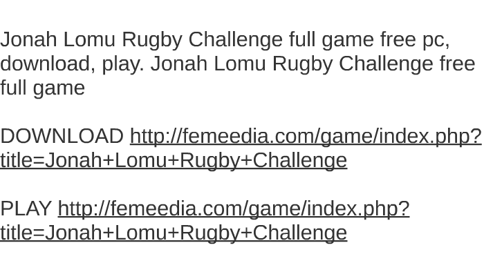 Jonah lomu rugby download (1998 sports game).