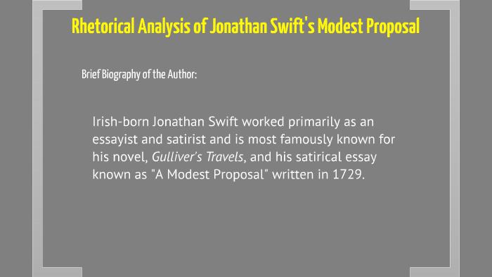 Copy Of Copy Of Rhetorical Analysis Of A Modest Proposal By Kari