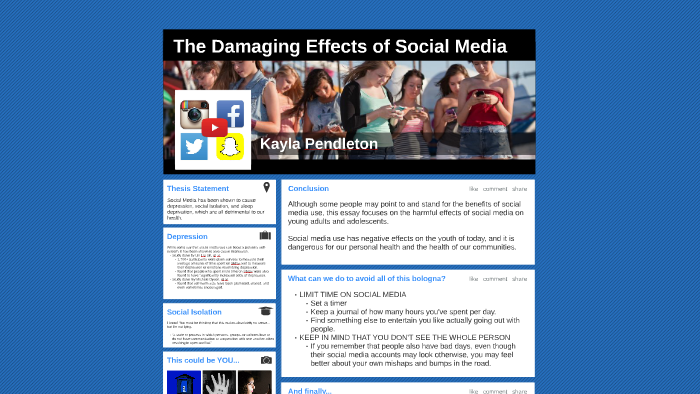 thesis statement about effects of social media