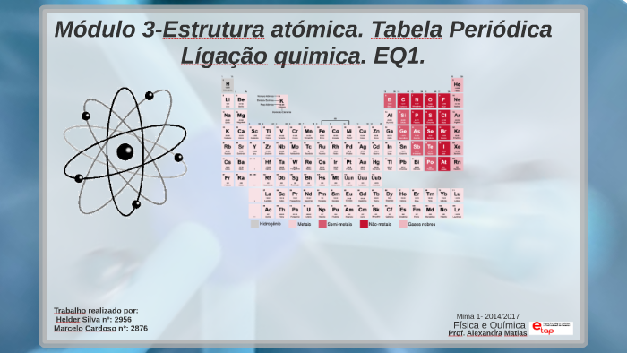 Módulo 3 Tabela Priódica Estrutura Atómica By Mracelo