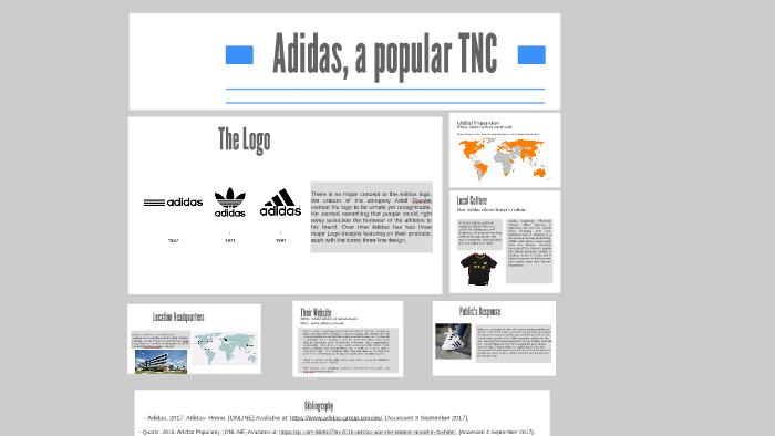 sale retailer d4ec8 7863f Adidas, a popular TNC by Emily Doyle on Prezi