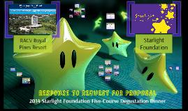 Response to RFP - Starlight Five Chefs Dinner