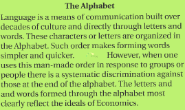 The Economics of the Alphabet