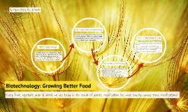 Biotechnology: Growing Better Food