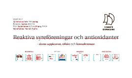 Reaktiva syreföreningar och antioxidanter