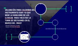 VALIDACIÓN DEL INSTRUMENTO DSAT-10 PARA COLOMBIA EN EL MARCO