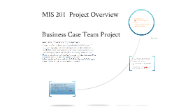 MIS 201  Business Case Project Overview