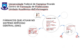 FÁRMACOS QUE ATUAM NO SISTEMA NERVOSO CENTRAL (SNC)