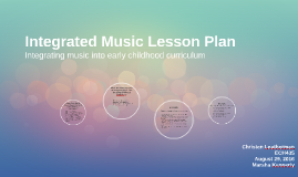 Integrated Music Lesson Plan