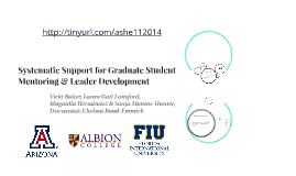 Systematic Support for Graduate Student Mentoring & Leader D