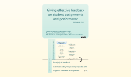 60-minute clinic: Giving effective feedback on student assignments and performance (04/16/2013)