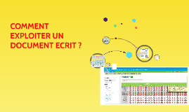 COMMENT EXPLOITER UN DOCUMENT ECRIT ?
