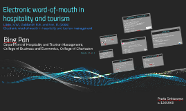 Electronic word-of-mouth in hospitality and tourism