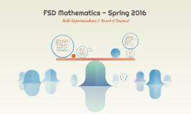 FSD Mathematics - Spring 2016