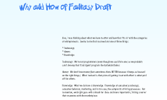 Why and How of Fantasy Draft