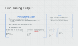 Fine Tuning Output