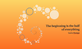 The beginning is the half of everything