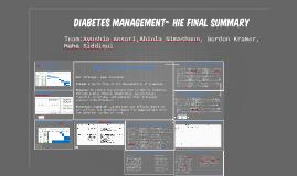 Diabetes Management- HIE Final Summary
