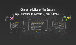 Characteristics of the Seasons
