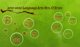 2018-2019 Language Arts Mrs. O'Brien