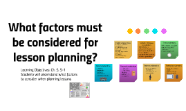 What factors must be considered for lesson planning?
