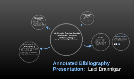 Annotated Bibliography Presentation